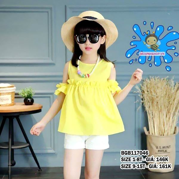 Set áo khoét vai quần kaki lưng thun dễ thương cho bé gái 1 - 8 tuổi: 146.000 đồng