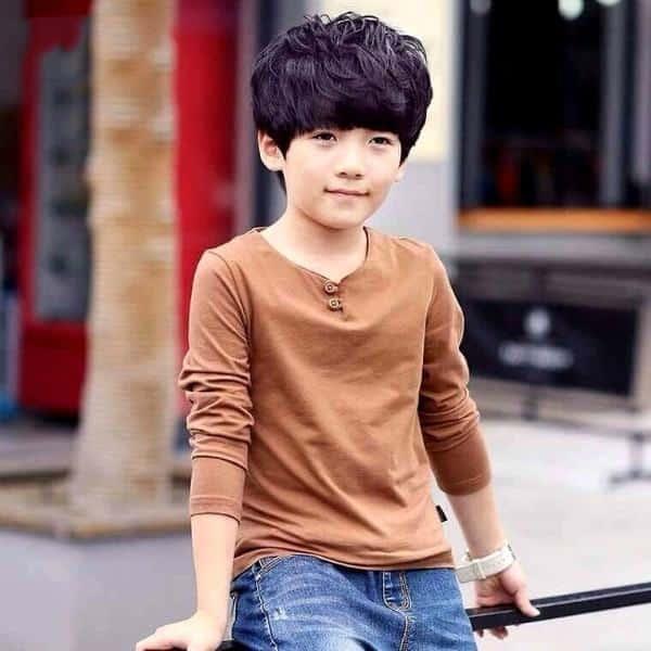 Áo thun cotton dài tay cổ bầu dễ thương cho bé trai 1 - 8 tuổi có giá 85.000 đồng