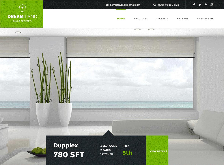 Mẫu web bất động sản DreamLand