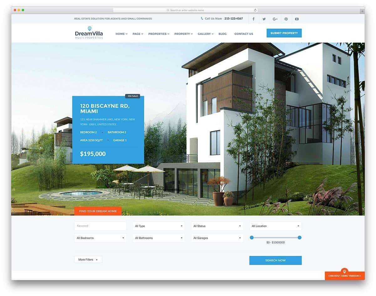 Mẫu web bất động sản DreamVilla