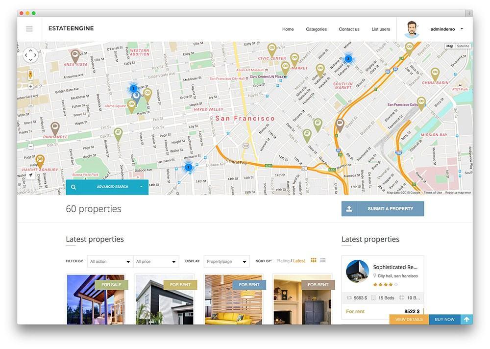 Mẫu web bất động sản Estateengine