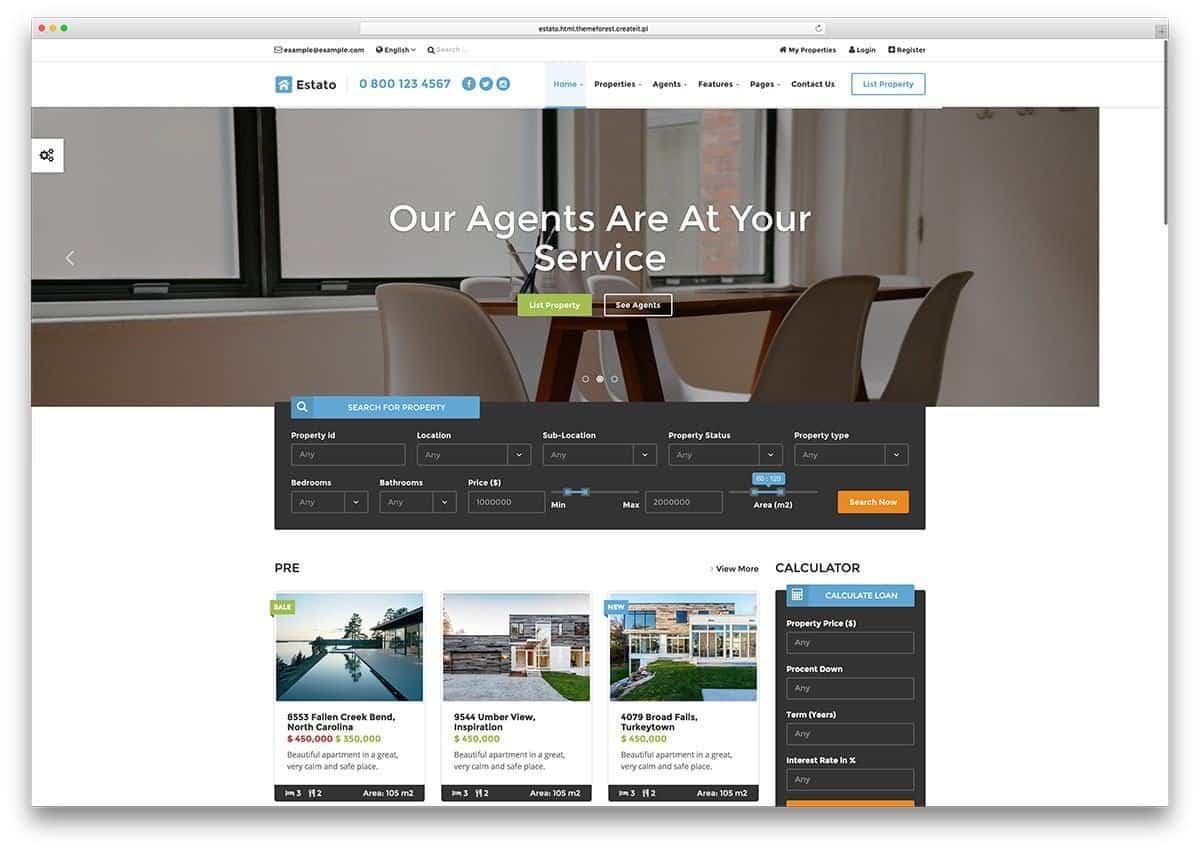 Mẫu web bất động sản estato
