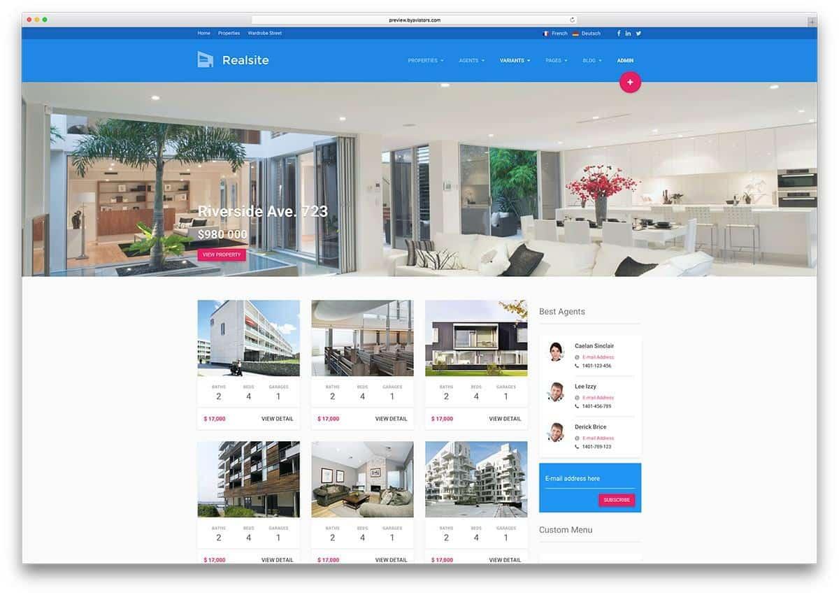 Mẫu web bất động sản Real
