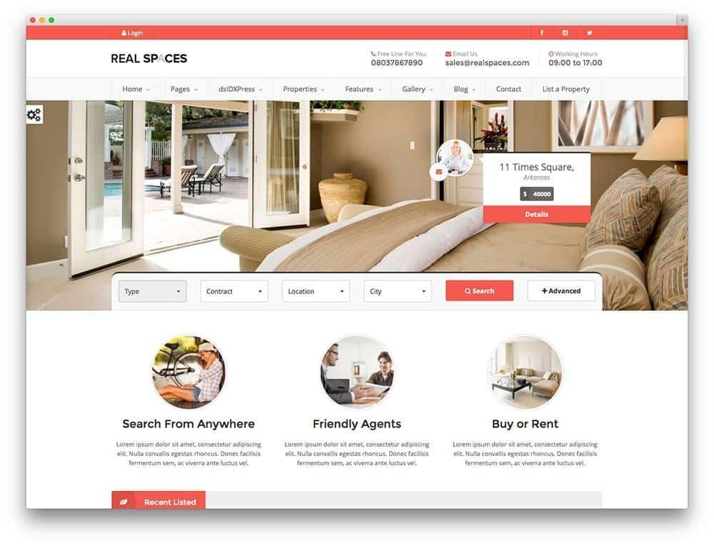 Mẫu web bất động sản realspaces
