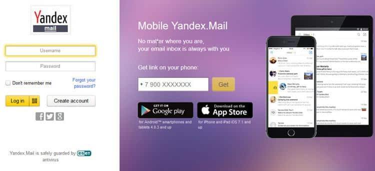 Yandex Mail cung cấp các tài khoản email miễn phí.