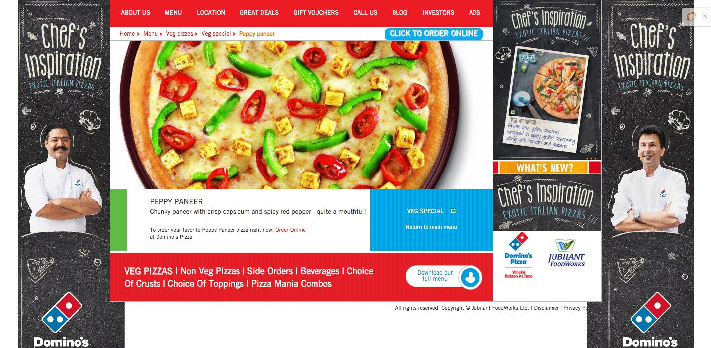Trang web của Domino với bánh pizza phục vụ thị hiếu quốc tế