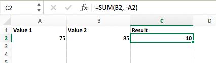 Công thức phép trừ trong Excel