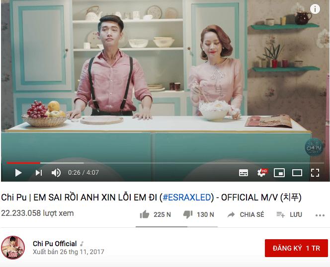Chi Pu có 2 MV xuất hiện trong BXH này.