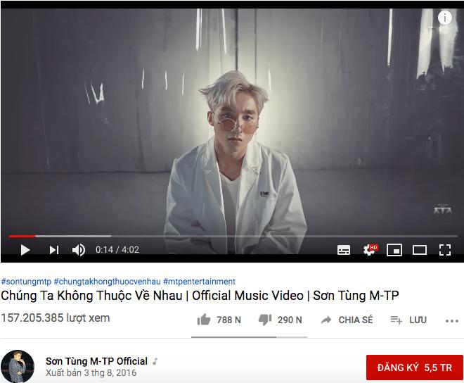 Với hơn 157 triệu lượt xem, MV này đã có hơn 290 nghìn lượt không thích.