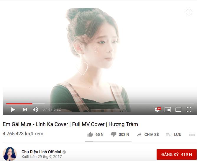 Đứng nhất là Linh Ka với MV cover Em Gái Mưa.