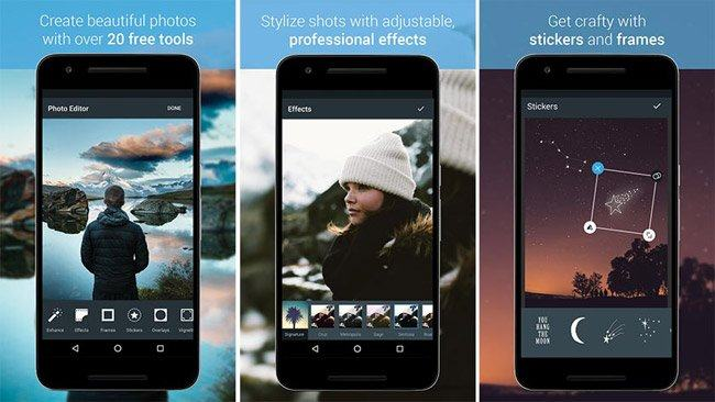 Giao diện của trình biên tập ảnh Android Photo Editor by Aviary