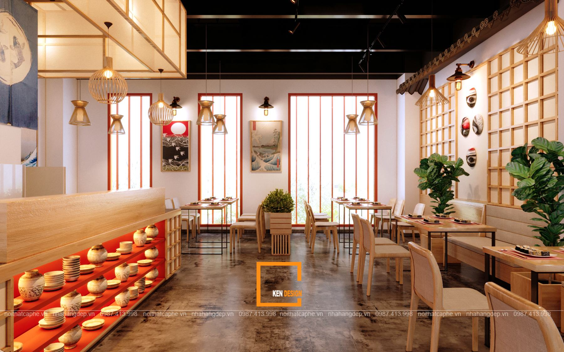 Gợi ý thiết kế nhà hàng Nhật Bản đẹp và ấn tượng | Kendesign