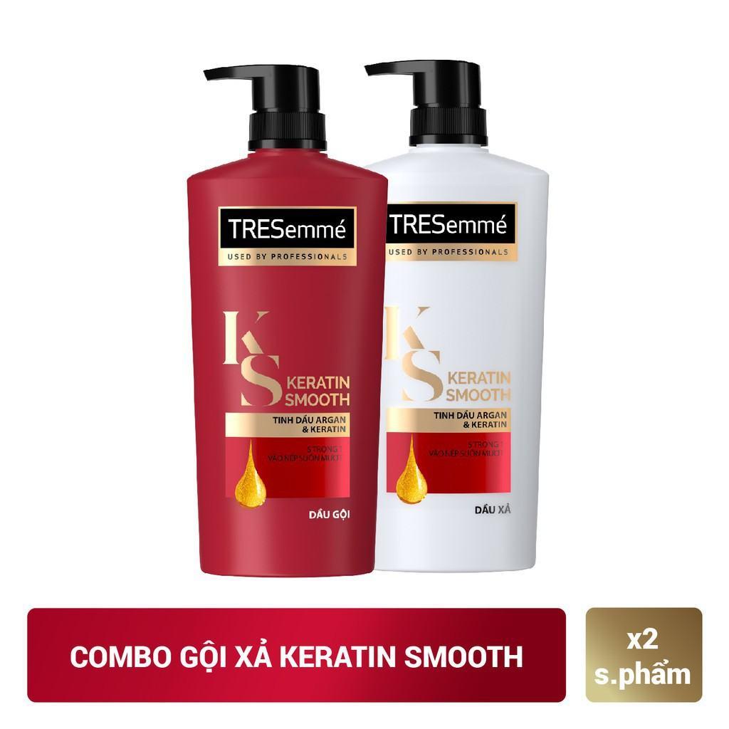 Combo gội 640g + xả 620g TRESemmé Keratin Smooth Tinh dầu Argan và Keratin vào nếp suôn mượt | Shopee Việt Nam