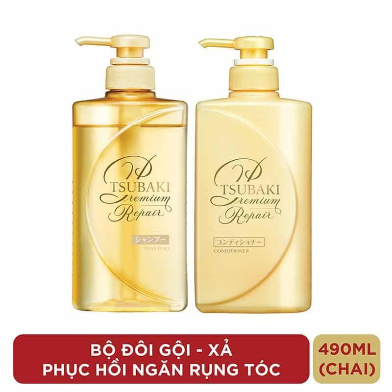 Bộ đôi gội xả Phục hồi ngăn rụng tóc Premium Repair Tsubaki 490ml/chai | Shopee Việt Nam
