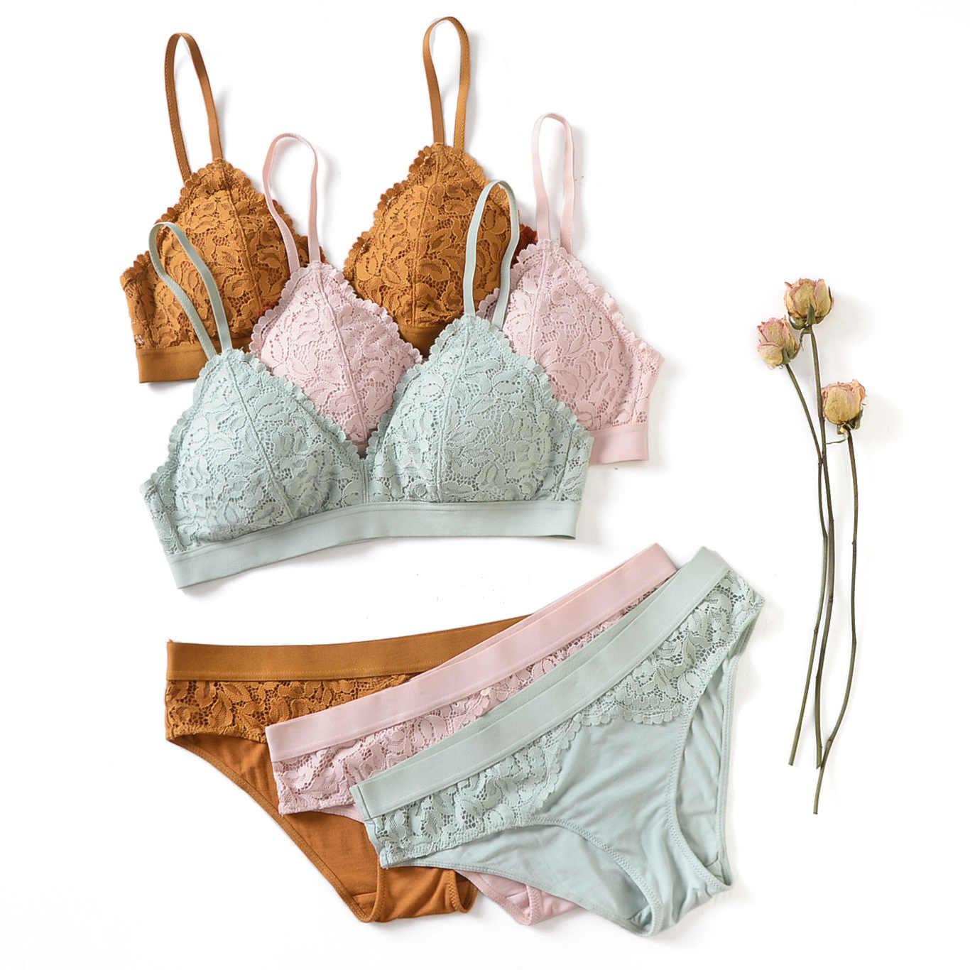 Phụ nữ bộ đồ lót ren Push up Sexy Áo lót Dây Miễn Phí hồng áo ngực và quần Bộ Ren Hoa Nữ Bộ đồ lót|Bộ Áo Lót & Quần Đùi| -