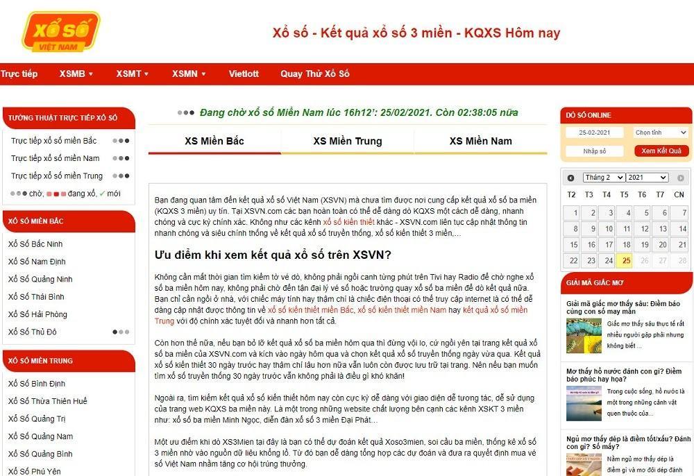 XSVN.com là website cung cấp kết quả Vietlott nhanh chóng