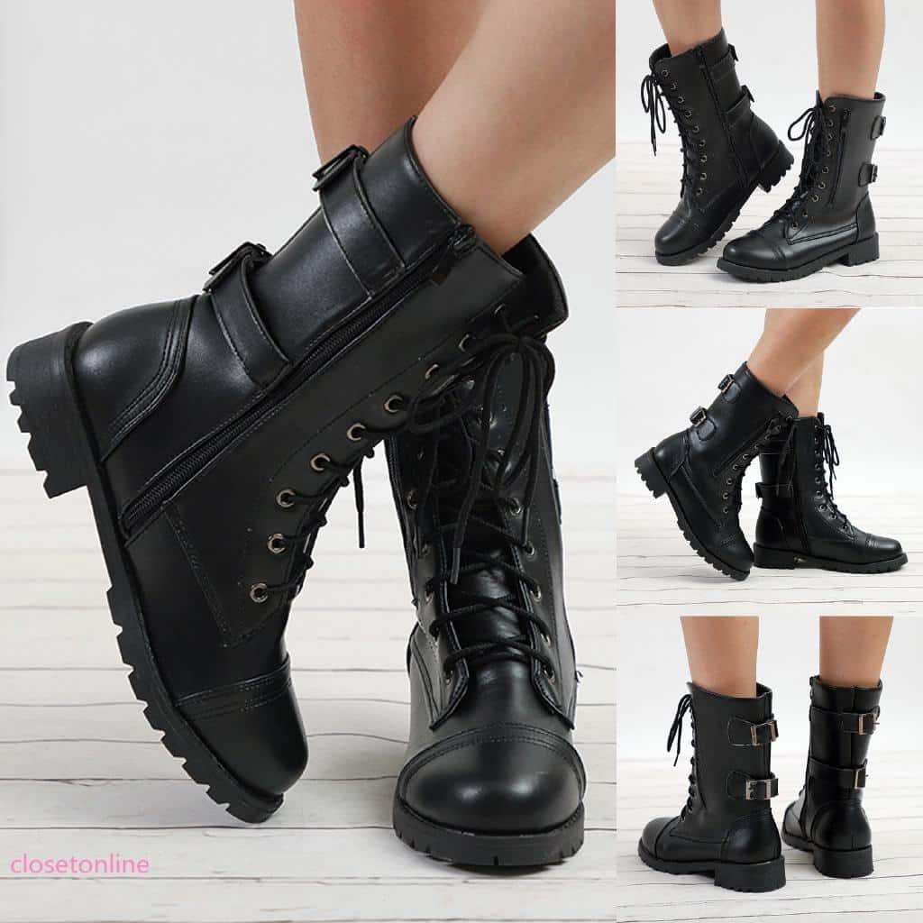 Giày Boot da kiểu dáng quân đội cho nữ   Shopee Việt Nam