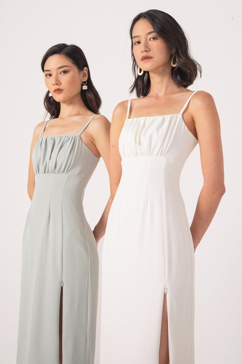 ASTERIA RUCHED SLIT MIDI DRESS #MADEBYLOVET (WHITE) | Lovet