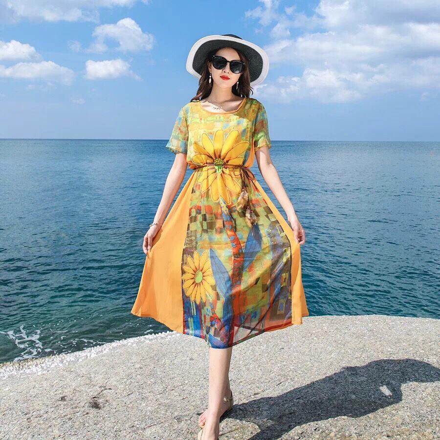 Váy đầm maxi ngắn cao cấp có tay đi biển dự tiệc - SAGA Silk