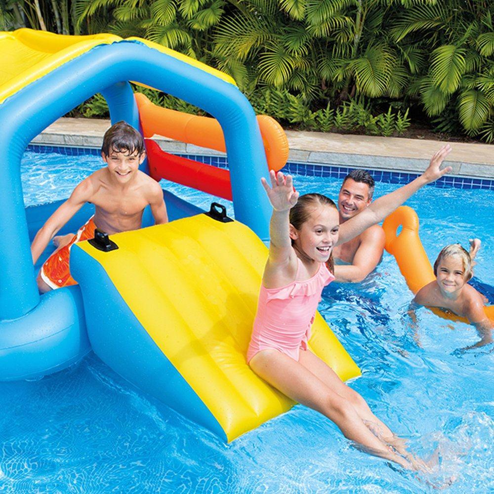 Bể bơi cầu trượt có mái che INTEX 58294 | Nhà hơi nhà phao nhún, Nhà trượt  nước
