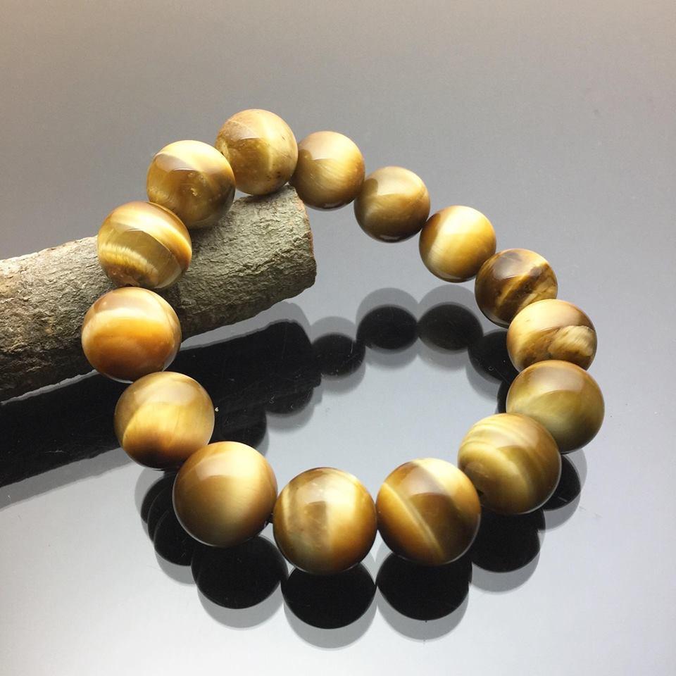 Vòng tay phong thủy đá mắt hổ vàng tươi 14mm – Đá quý Việt Nam