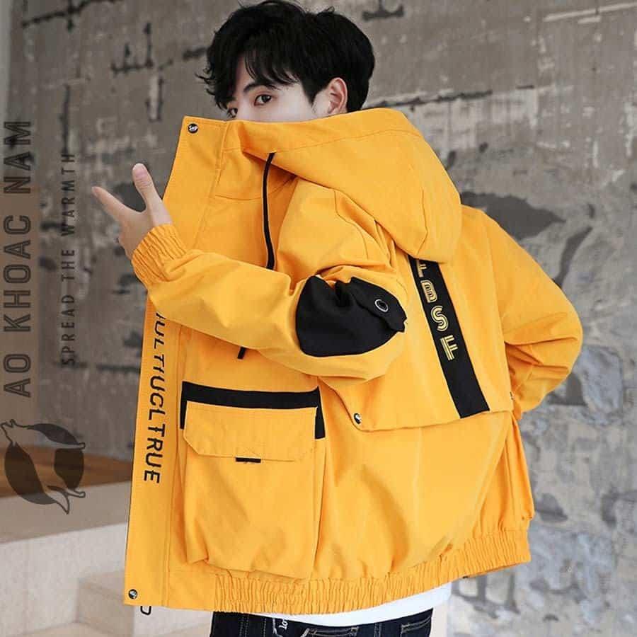 Áo khoác gió nam vàng cực teen AKN-095 - Shop áo khoác nam xuất khẩu