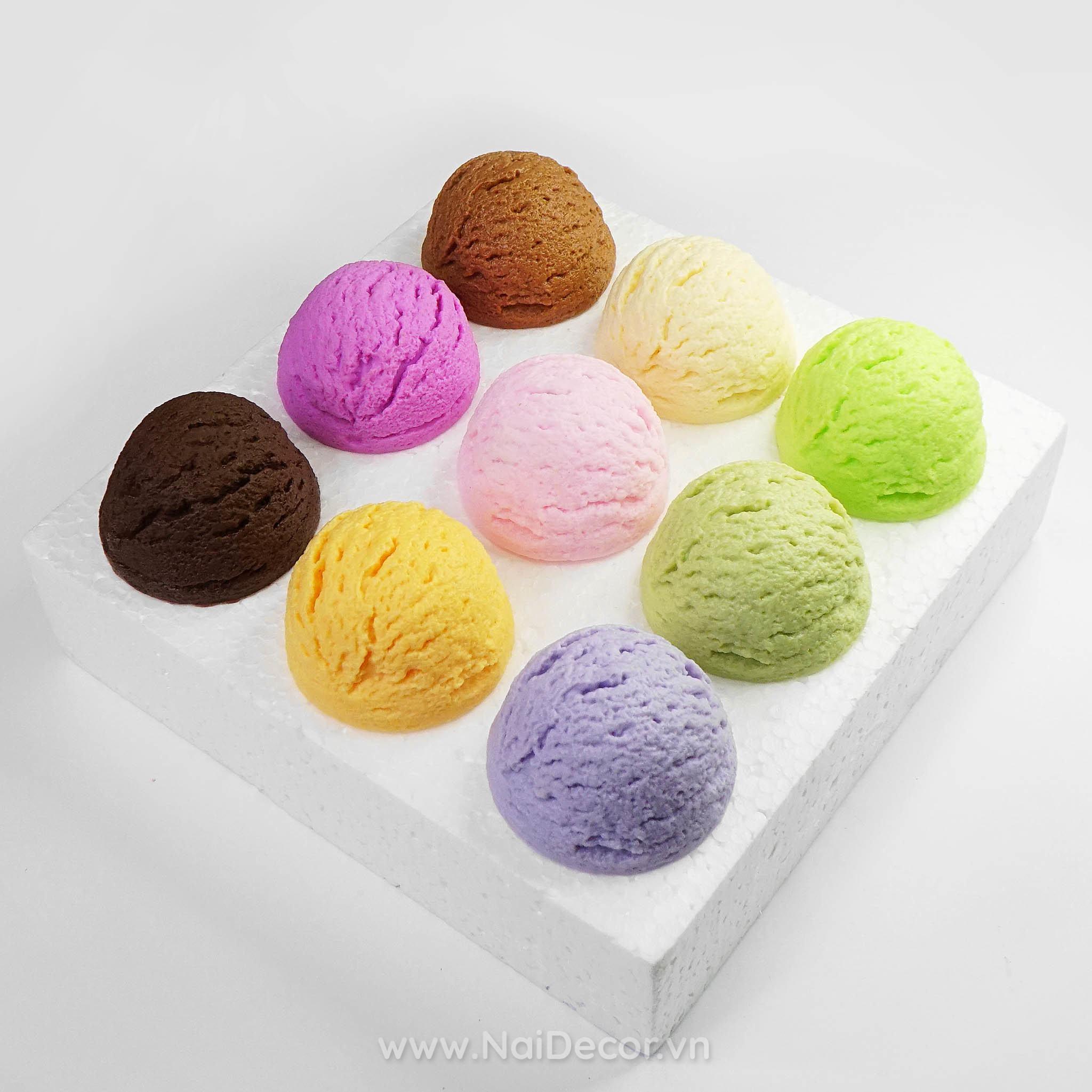 Viên kem mô phỏng nhiều màu - Nai Decor