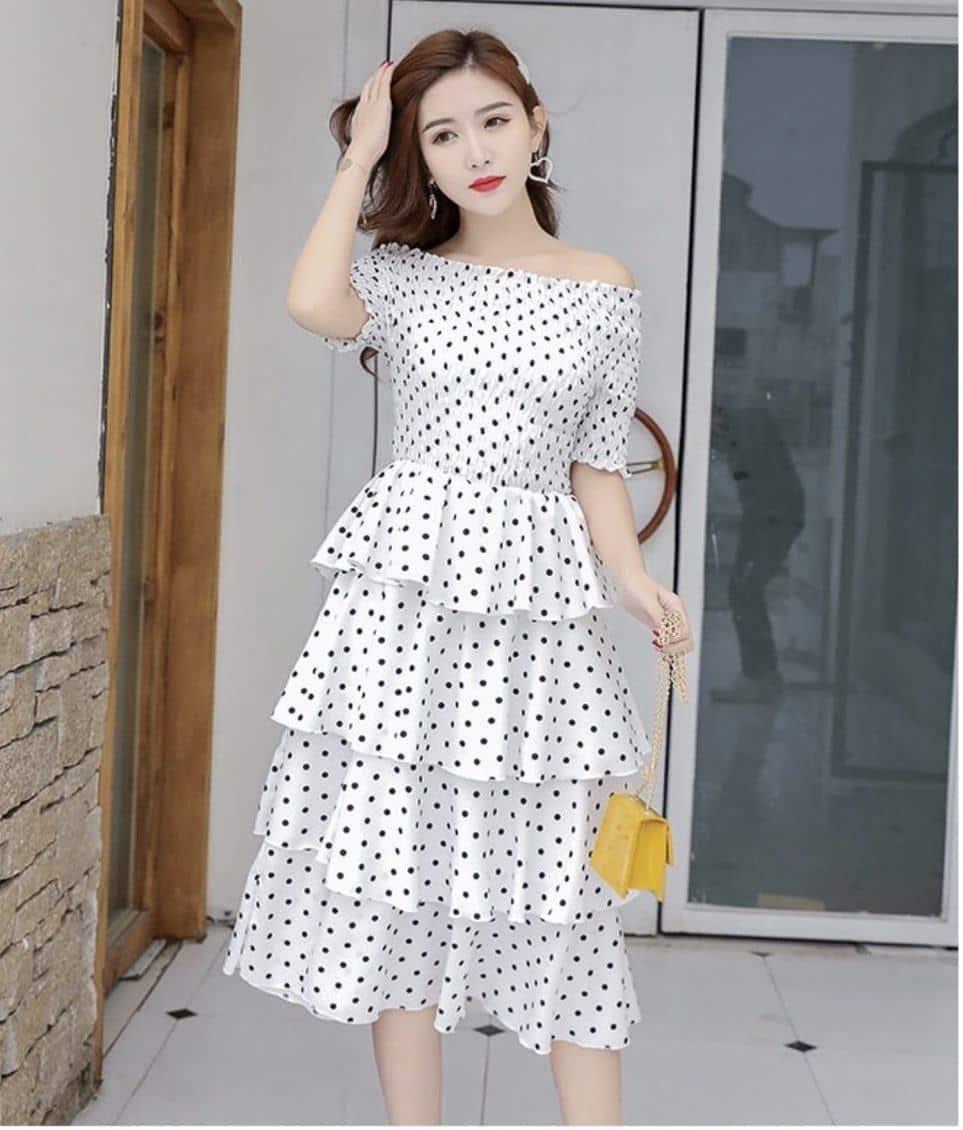 Đầm maxi bèo tầng chấm bi - Shop Váy Maxi Oanh