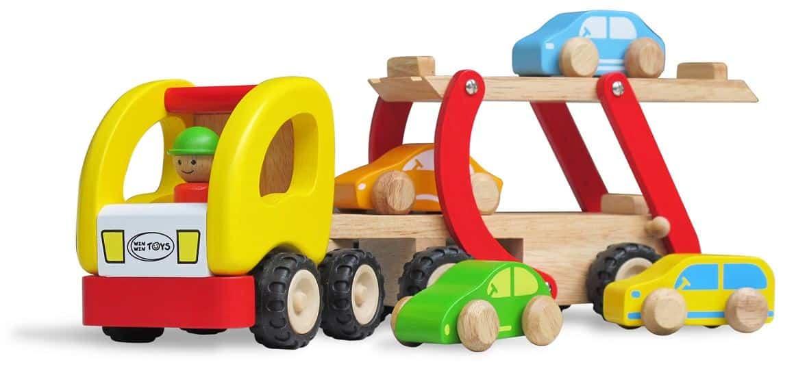 Xe chở ô tô 2 tầng - đồ chơi gỗ cho bé trai năng động.