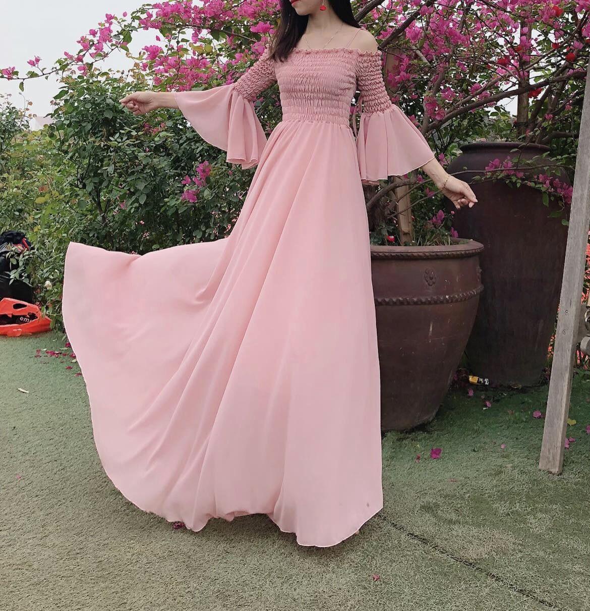 Đầm maxi hồng nhún ngực - maxi.vn