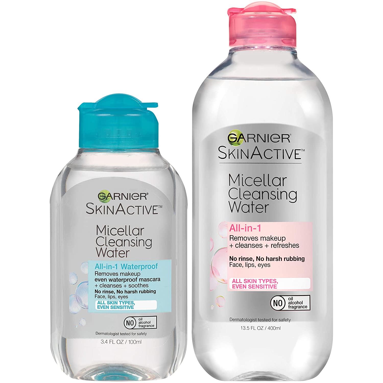 Amazon.com: Garnier SkinActive Micellar Cleansing Water, For All Skin  Types, 13.5 fl oz + Micellar Cleansing Water, For Waterproof Makeup, 3.4 fl  oz: Beauty