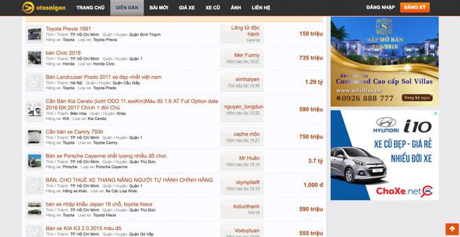 Top 5 trang web mua bán ôtô uy tín nhất Việt Nam năm 2018 - 2