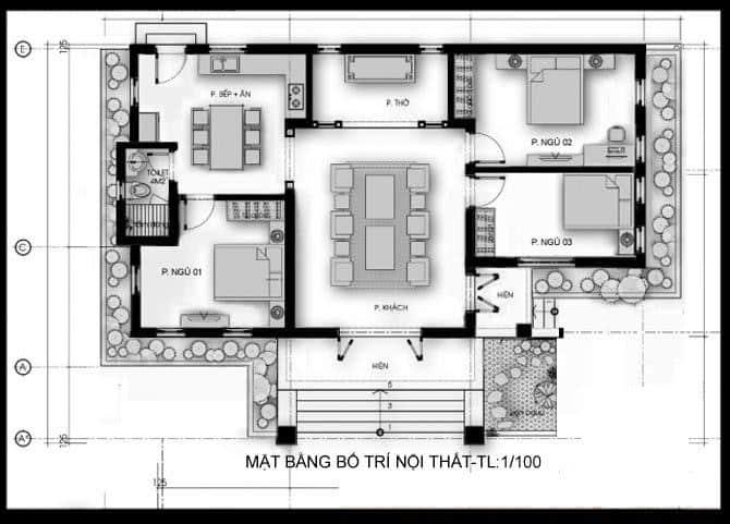 Mặt bằng bố trí nội thất nhà cấp 4 100m2 có 3 phòng ngủ