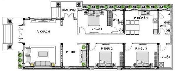 Mặt bằng bố trí nội thất nhà cấp cấp 4 hình hình chữ L