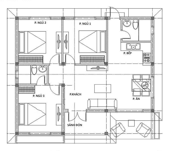 Mặt bằng bố trí nội thất nhà cấp 4 giả biệt thự 3 phòng ngủ