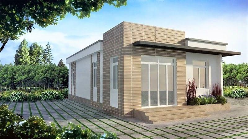 Mẫu nhà cấp 4 100m3 mái bằng hiện đại với 3 phòng ngủ