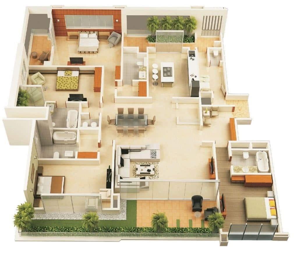 Mặt bằng bố trí nội thất nhà cấp 4 có 4 phòng ngủ