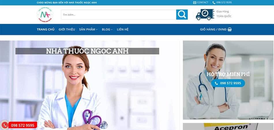 Giao diện website Nhà thuốc Ngọc Anh