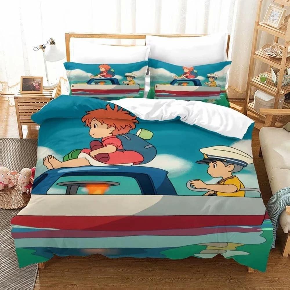 Ponyo Trên Vách Đá Bộ Chăn Ga Gối Hình Hoạt Hình Bộ Chăn Gối Đơn Đôi Full Nữ Hoàng Vương Kích Thước Ga Giường Bộ Nhà trang Trí Phòng Ngủ|Bedding Sets| -