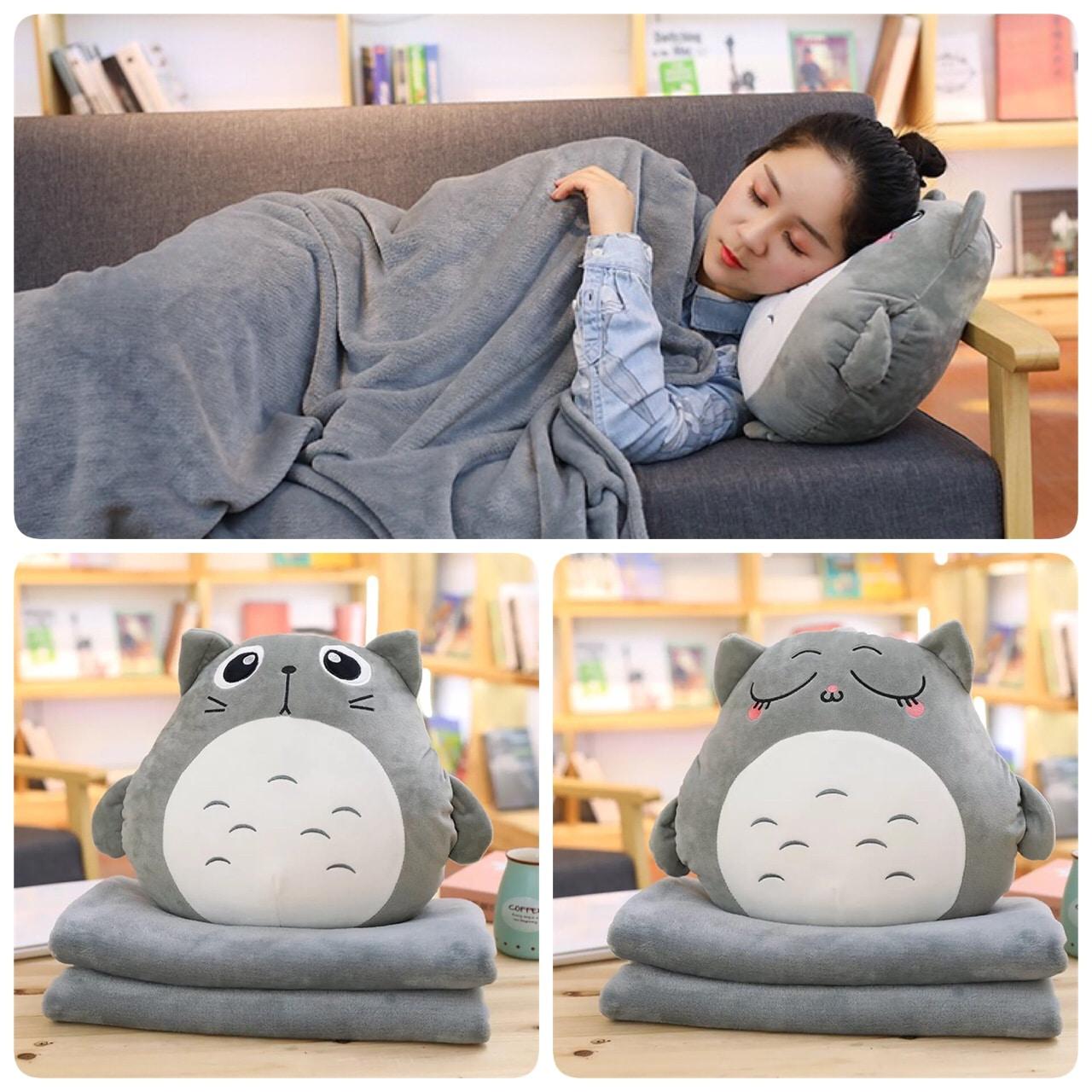 Bộ chăn gối văn phòng 3in1 totoro kèm đút tay dễ thương – Totoro Store – Thú Bông Cao Cấp – phukientotoro.com
