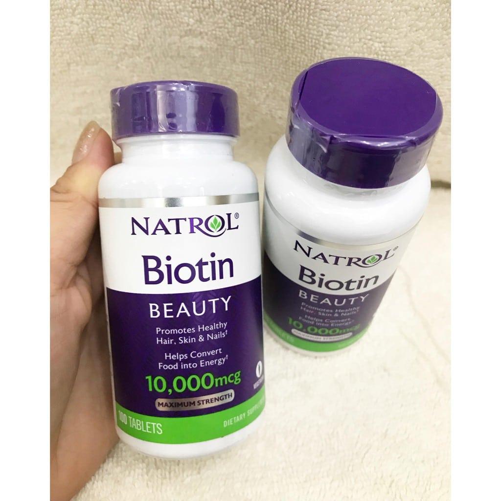 VIÊN UỐNG MỌC TÓC NATROL BIOTIN 10,000MCG (100 viên) – Bonita Cosmetic Shop