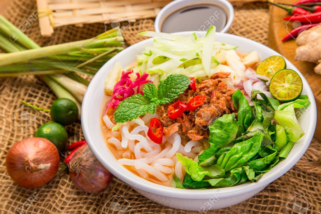 Assam Laksa (Noddle In Tangy Fish Gravy) Is A Special Malaysian.. Stock  Photo, Picture And Royalty Free Image. Image 85129259.