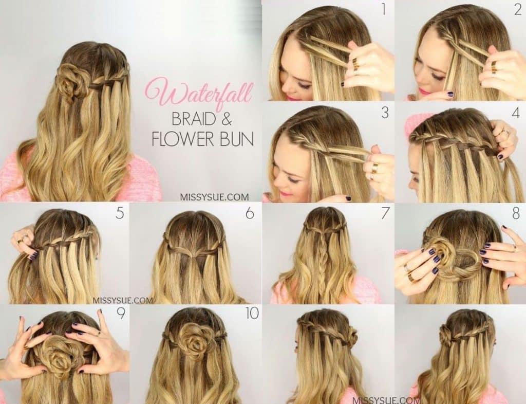 5 cách thắt bím tóc thác nước (kèm hình hướng dẫn cụ thể)