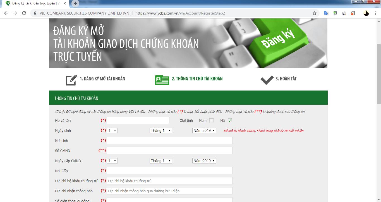 Hướng dẫn Mở Tài khoản Chứng khoán Vietcombank – VCBS