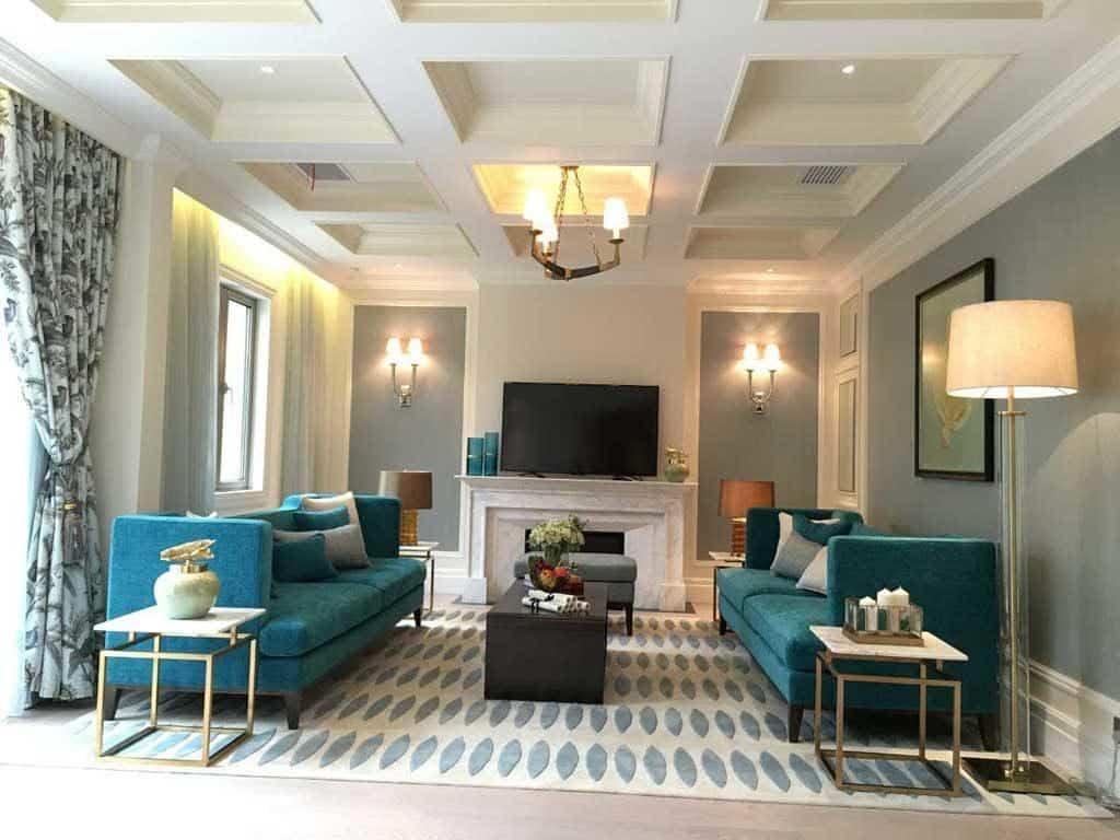 Tone màu thảm được chọn theo phong cách nối tiếp với tone màu sofa