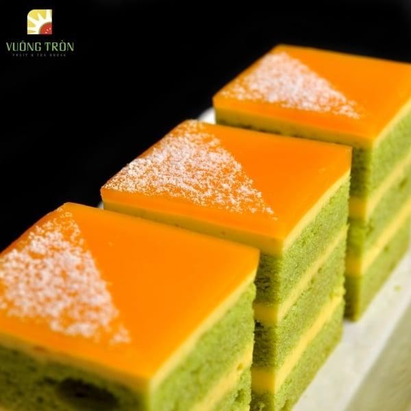Green Tea Mango Mousse Cake   Trái cây Vuông Tròn